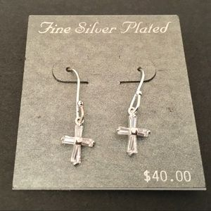 NEW SILVER PLATED CRYSTAL CROSS PIERCED EARRINGS